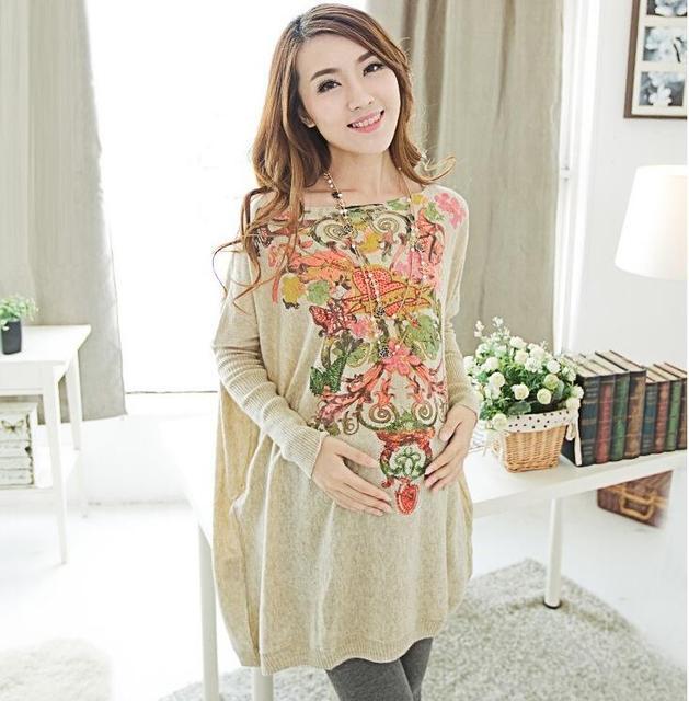 Весна осень одежда для беременных женщин по беременности и родам свитер пуловер свободного покроя отпечатано с длинными рукавами трикотажные топы Большой размер