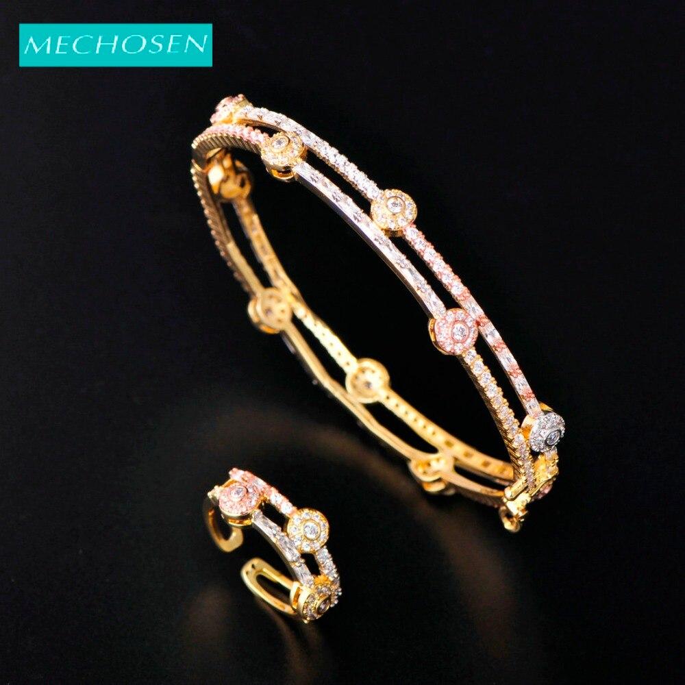 Meselected exquis romantique mariage bracelet bague ensembles Double rangées brillant Zircon cuivre bijoux pour femmes filles partie meilleur ornement