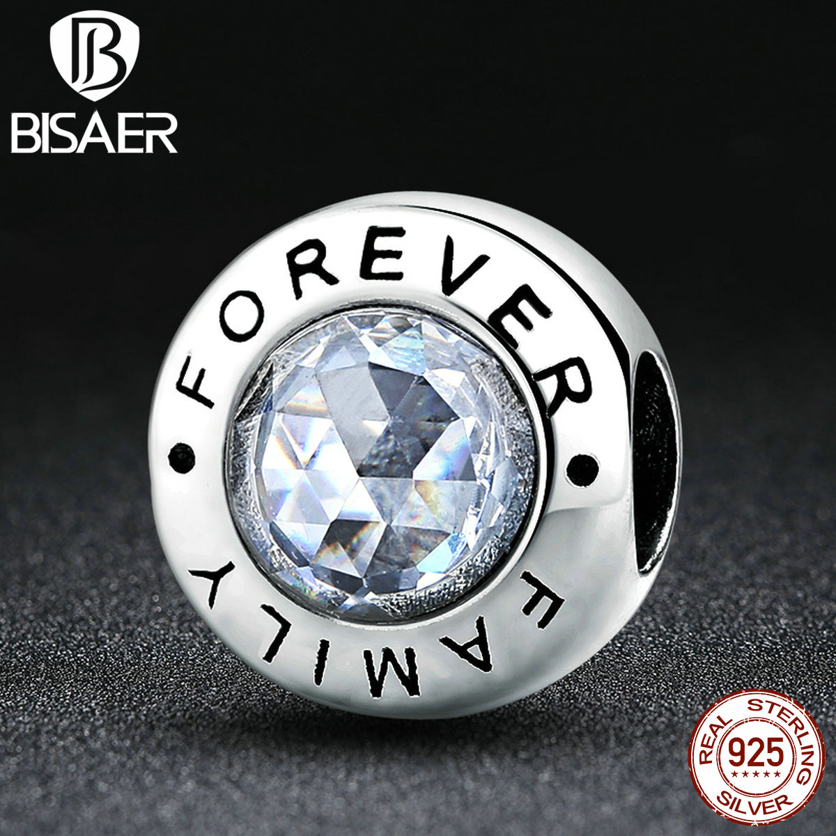 BISAER New Arrival Classic 925 Sterling Silver Family Forever, Clear CZ Bead Charm Fit Pan Bracelets Fashion Jewelry HJS378