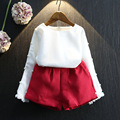 Kids Fashion New Arrival Autumn Baby Girls Clothing Sets White Long Sleeve Beading Top Shorts 2pc Girls Outfits 2-7Years