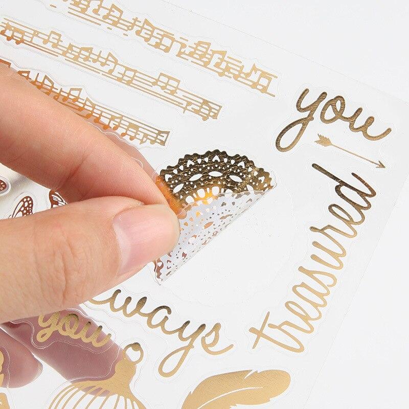 Retro Gold Gliding Sticker Daily Life Flower Key Celebrate Cat Diary Phone Album Decoration DIY Twinkle Stickers Girl Kids Gift