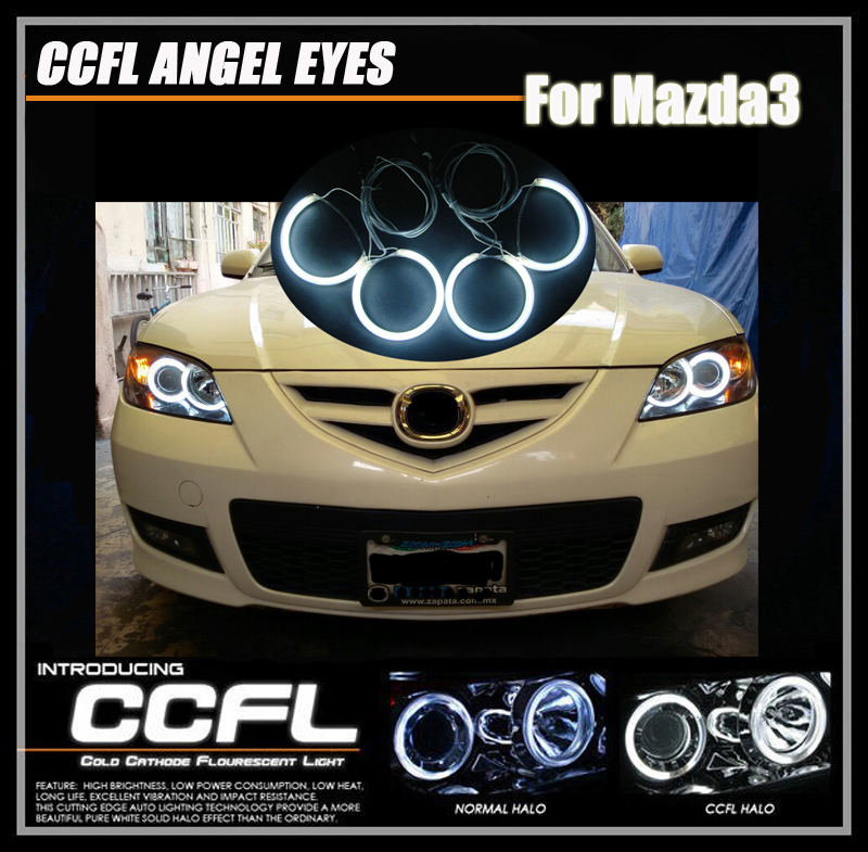 Colorful CCFL ANGEL EYES HALO RING KIT with inverters FOR MAZDA 3 SEDAN HATCHBACK  04-08  white/red/bule/yellow halo ring kit ccfl angel eyes ring kits for bmw e30 e32 e34 white blue red yellow green purple 120mm ring angel eyes