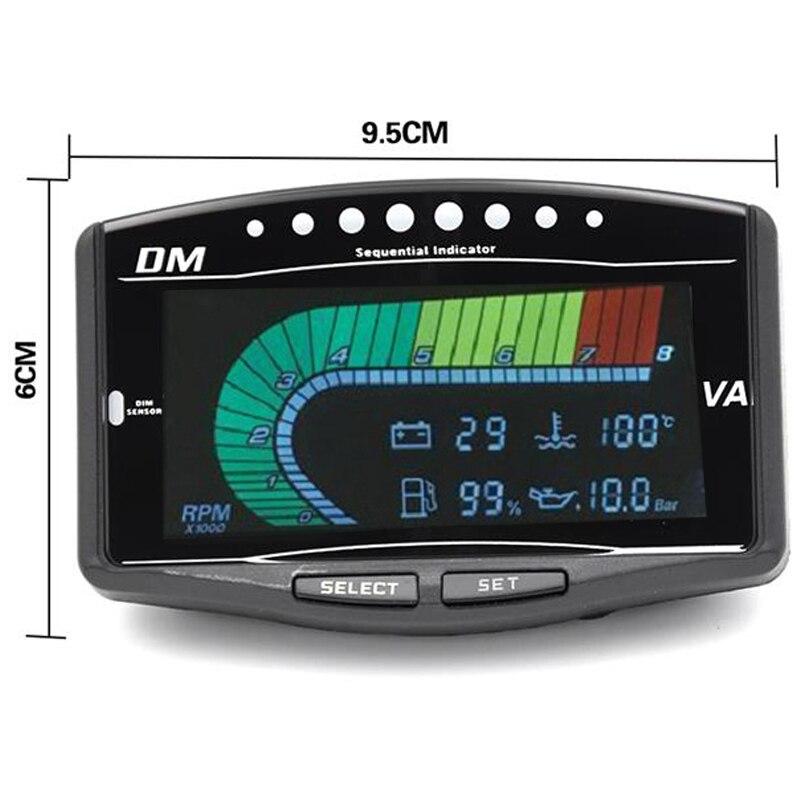 12 v/24 v voiture camion LCD numérique jauge de pression d'huile/Volt voltmètre/jauge de température d'eau/jauge de carburant/tachymètre 5 fonction en 1