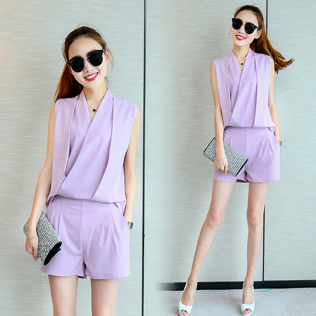 416327a6d15 Women Clothing Set Shorts Suits Summer Outfit New Two-Piece Chiffon Blouse    Wide-Legged Short Pants Korea Fashion Jumper S-XXL