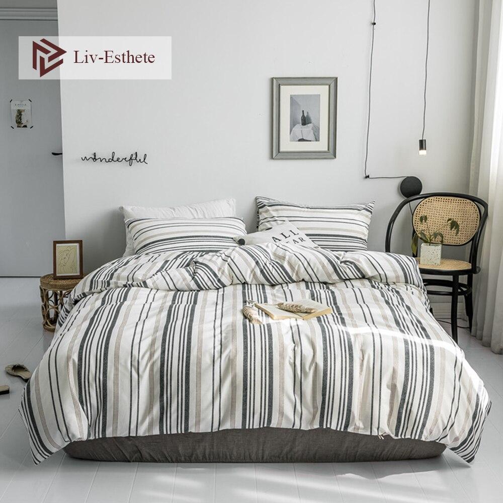 Liv-Esthete Nordic 100% Cotton Stripe Bedding Set Decor Duvet Cover Pillowcase Flat Sheet Double Queen King Bed Wholesale