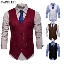 Wine Red Slim Fit Vest Men 2019 Brand New Vintage Chain Decoration Suit Vest Mens Busienss Casual Waistcoat Chalecos Para Hombre(China)