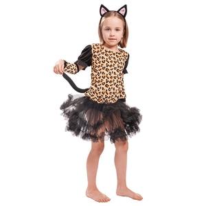 Image 2 - Eraspooky Cute Cartoon Animal Cosplay Girls Tiger Leopard Dress Halloween costume for kids Christmas Carnival Outfit Headband