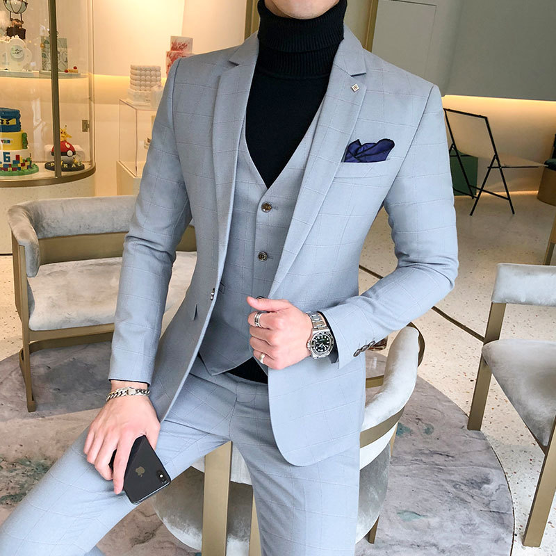 YUSHU Business Formal Men Suit Prom Tuxedo Slim Fit Suit 3 Piece Men Groom Wedding Suits For Men Custom Blazer Terno Masuclino