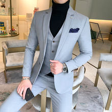 YUSHU Business Formal Men Suit Prom Tuxedo Slim Fit Suit 3 Piece Men Groom Wedding Suits For Men Custom Blazer Terno Masuclino(China)