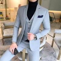 YUSHU Business Formal Men Suit Prom Tuxedo Slim Fit Suit 3 Piece Men Groom Wedding Suits For Men Custom Blazer Terno Masuclino