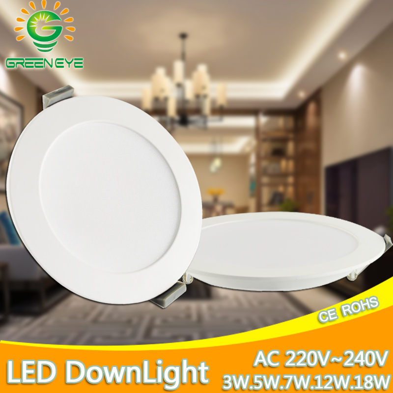 Ultra Thin LED Downlight 3w 5w 7w 12w 18w AC 220V 240V 2835SMD LED Round Panel Light Cold White Warm White Indoor Lighting