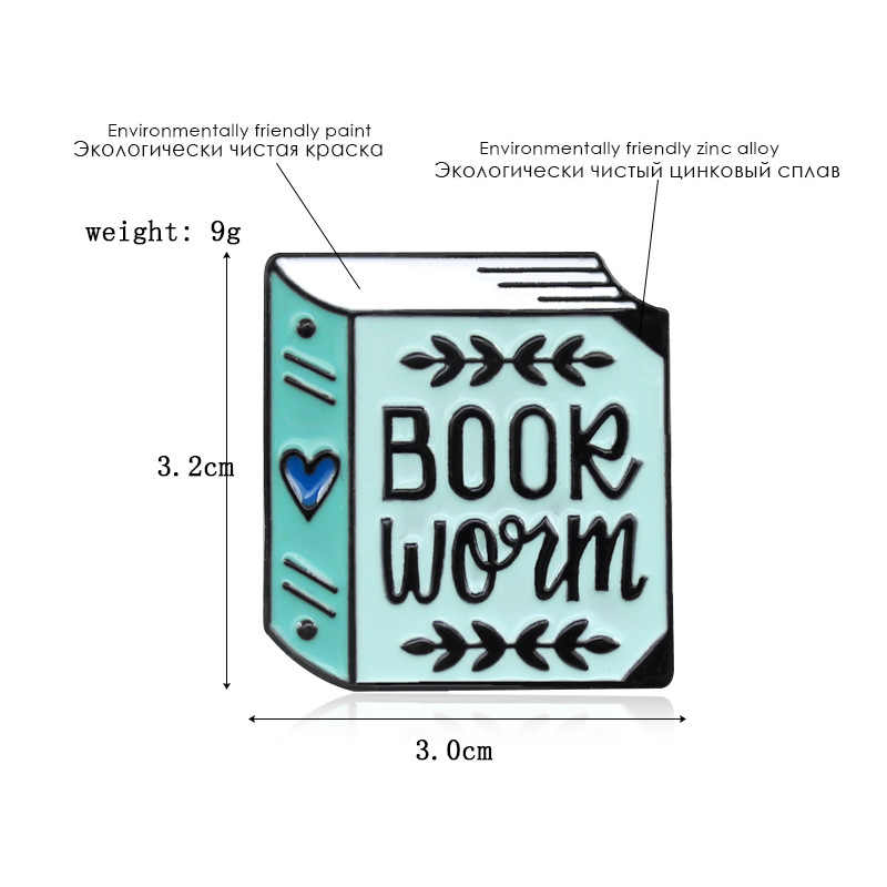 WEISHUOLI الكرتون أوروبا وأمريكا القلب على شكل كتاب شارة هدية الكتب الأحبة بروش للنساء