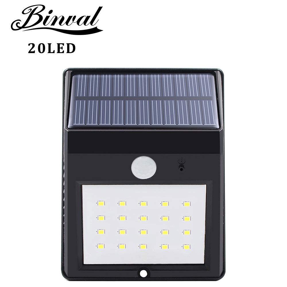 Binval Solar Lamp Outdoor 20 LEDs Motion Sensor Garden Decoration Lampada Luz Solar Waterproof Garden Led Solaire Street Light
