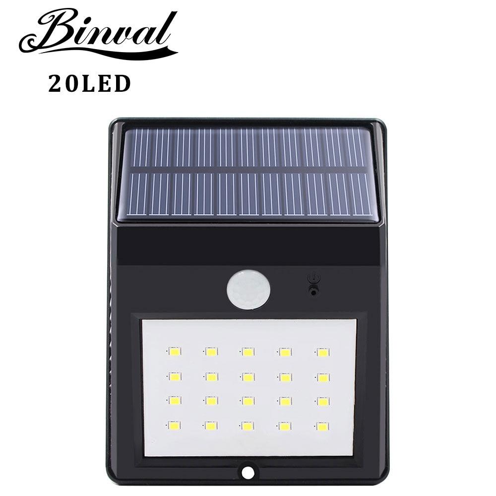 Binval Solar Lampe Outdoor 20 LEDs Motion Sensor Garten Dekoration Lampada Luz Solar Wasserdicht Garten Führte Solaire Straße Licht