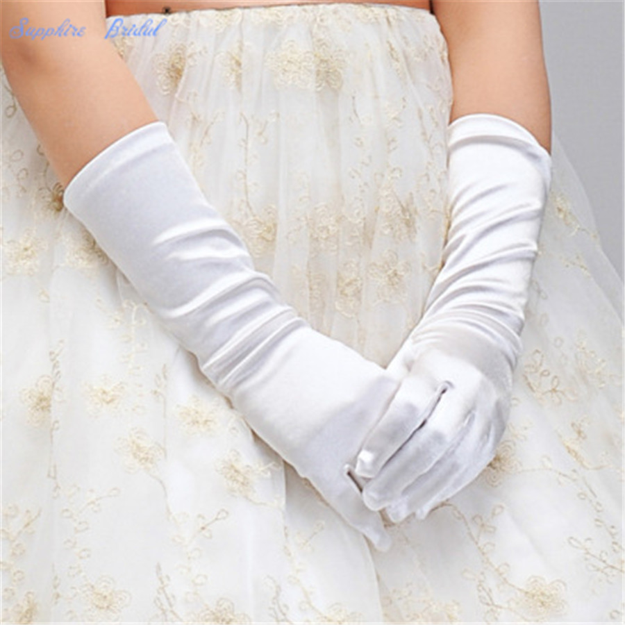 Sapphire Bridal 2019 Short Satin Gloves Korean Flower Girl Gloves Opera Length Satin Gloves Dancing Party White Pink Hot Sale