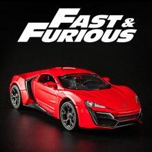 KIDAMI 1:32 Modello di Auto Giocattolo Auto Fast and Furious Lykan Diecast Veicolo Tirare Indietro Auto con la Luce Del Suono di Raccolta Regalo per bambini Ragazzi
