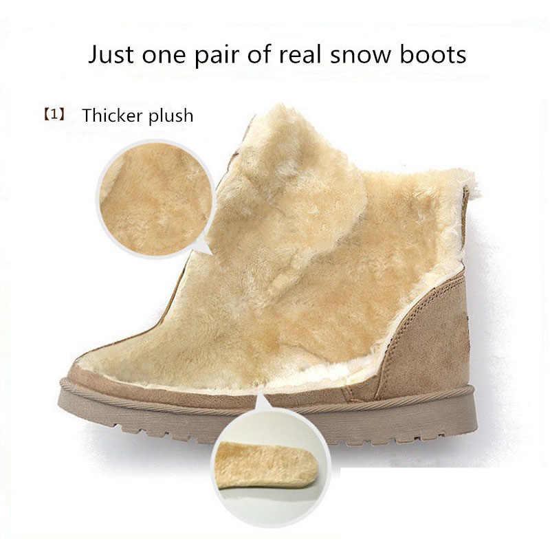 Femmes bottes hiver daim chaud fourrure bottes femmes chaussures solide court peluche femmes bottes de neige grande taille 41 42 43