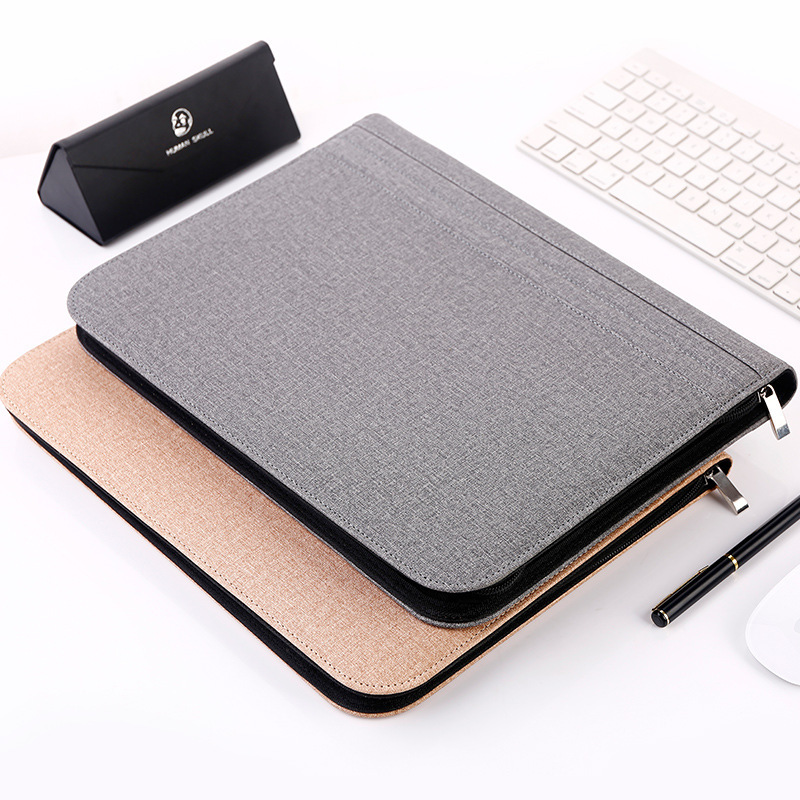A4 Leather Manager File Folder Luxury Large Multifunction Zipper Document Clip Bag Office Business Pad folio Supplies+Calculator a4 manager folder multifunction leather office folder includes 12 bit calculator clipboard business organizer folder