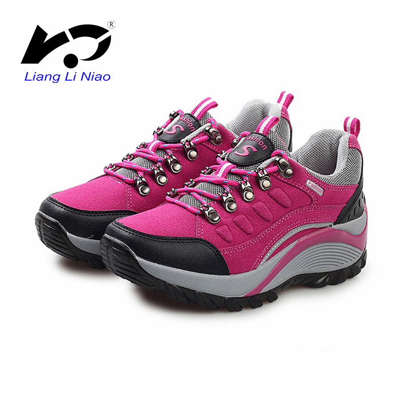 2017 Women Outdoor Mountain Hiking Boots Breathable Cow Suede Camping Shoes For Women Waterproof Trekking Sports Sneakers Women military men s outdoor cow suede leather tactical hiking shoes boots men army camping sports shoes