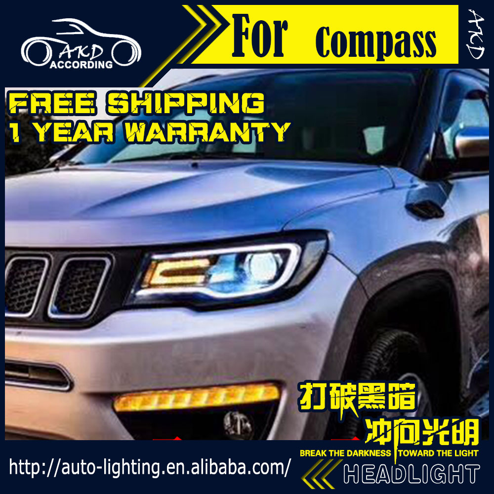 AKD Car Styling Head Lamp for Jeep Compass Headlights 2017 2018 All New Compass LED Headlight H7 D2H Hid Bi Xenon Beam