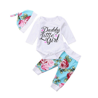 e48bd70a3b6d7 Toddler Newborn Baby Girl daddy little girl Romper+Long Pants Legging  Outfits Clothes Set 3pcs