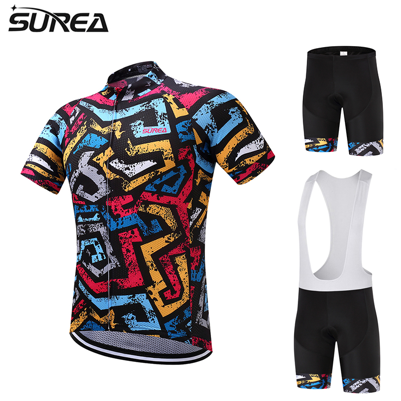 2017 SUREA Summer Cycling Jersey Men Bib set MTB Bike Breathable Clothes Bicycle clothing short sleeve Ciclismo ropa maillot Gel keyiyuan children cycling clothing set ropa ciclismo bicycle kids summer bike short sleeve jersey shorts sets blue