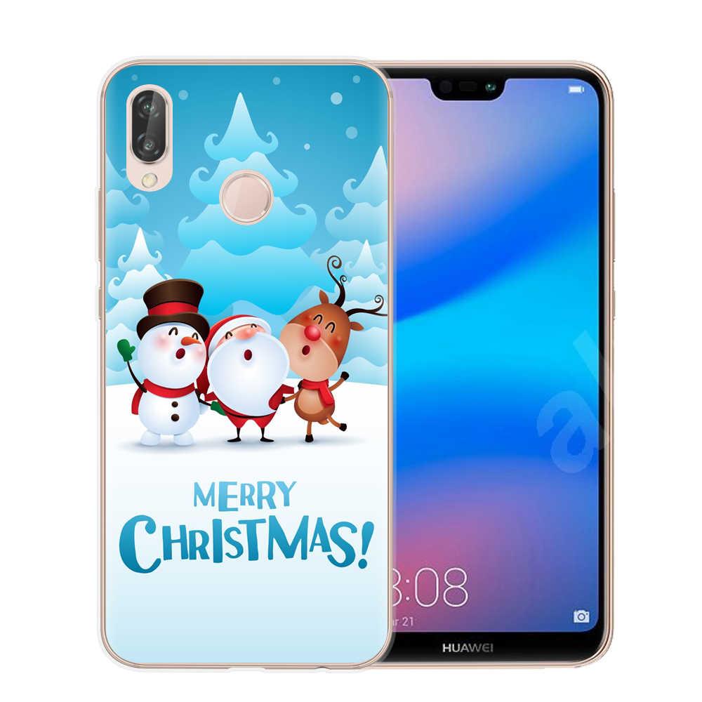Tampa Do Telefone de Silicone macio Para Huawei P8 P9 Lite 2017 Companheiro 10 P10 P20 Lite Pro Honra 9 10 Lite 6X 7X Feliz Natal Caso de Telefone