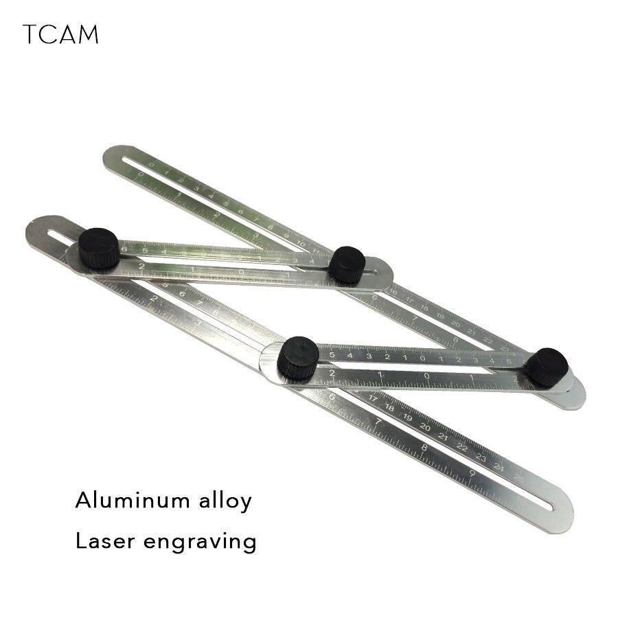 En Alliage d'aluminium Quatre-Face Règle De Mesure Instrument Modèle Angle Outil Diapositives Mécanisme Échelle Avec Laser Gravure