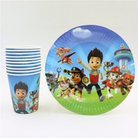 20pcs Lot Happy Birthday Party Baby Shower Cartoon Dogs Theme Paper Plates Kids Favors Cups Glass