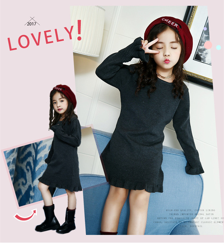 a1261f0a5a Detail Feedback Questions about Kids Girls Knit Dresses Long Sleeves ...