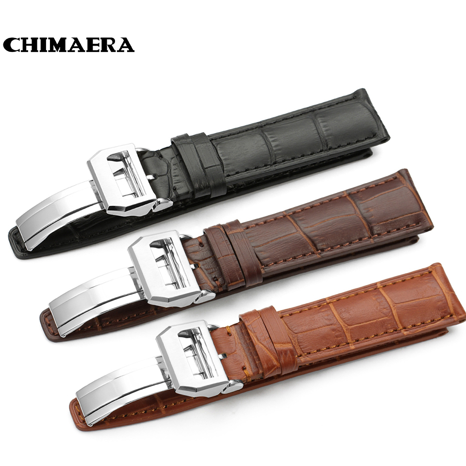 CHIMAERA Black Brown Deep Brown Handmade Crocodile/Alligator Grain 20mm 21mm 22mm Genuine Calf Leather Watch Band Strap For IWC