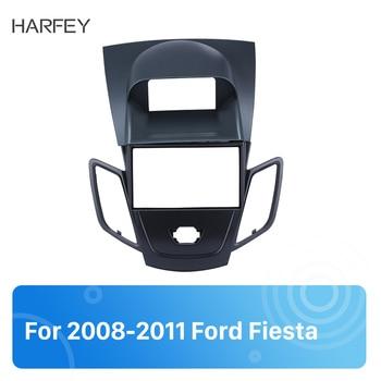 Harfey 2din car radio fascia 오디오 프레임 대시 베젤 트림 리필 키트 for ford fiesta 2008-2011 black 설치 키트 패널