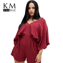 Kissmilk Europe And The United States Large Size Simple Red Sexy V-neck Pleated Lotus Leaf Sleeves Playsuits