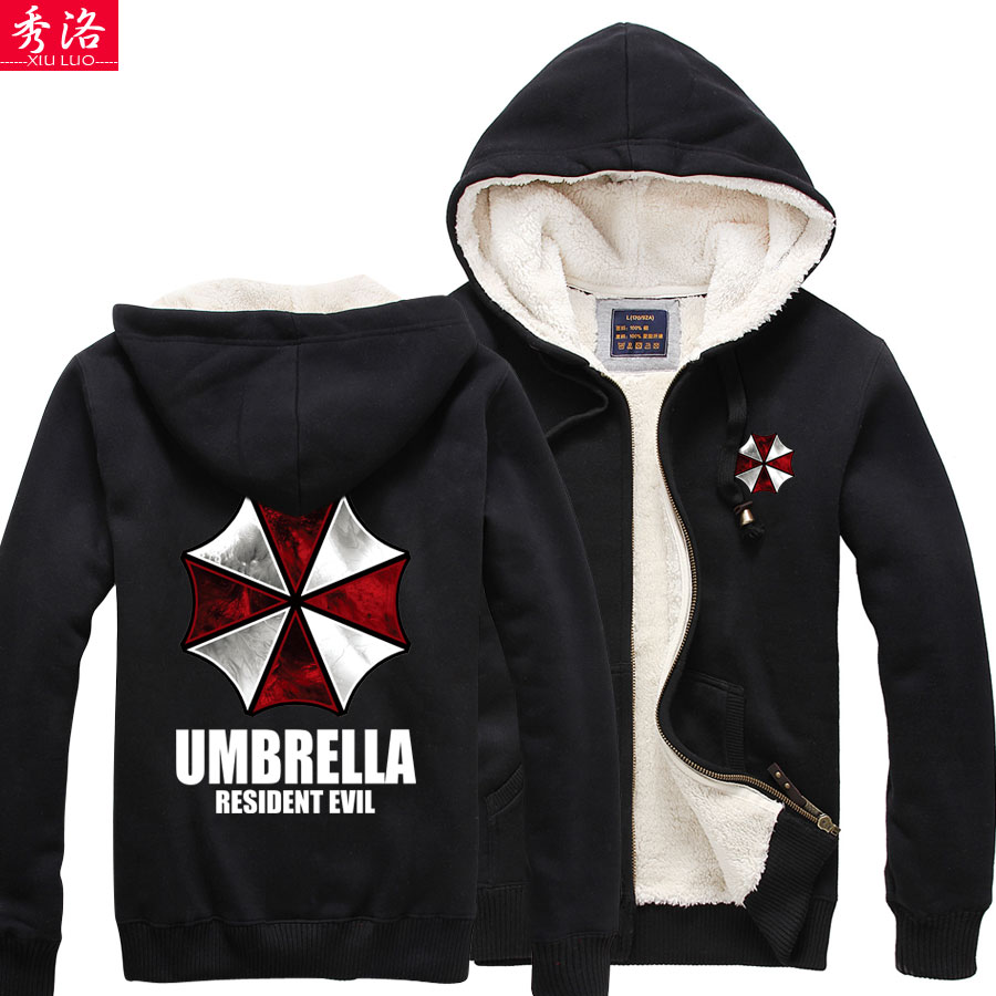 Thicken Shingeki no Kyojin Resident Evil Biochemical crisis berber fleece jacket font b hoodie b font