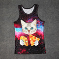 Gatito Espacio caliente Pizza Kebab 3D Print Tank Tops Niños Hombres Mujeres Camiseta adolescente Algodón Tee Suelta Prenda Unisex