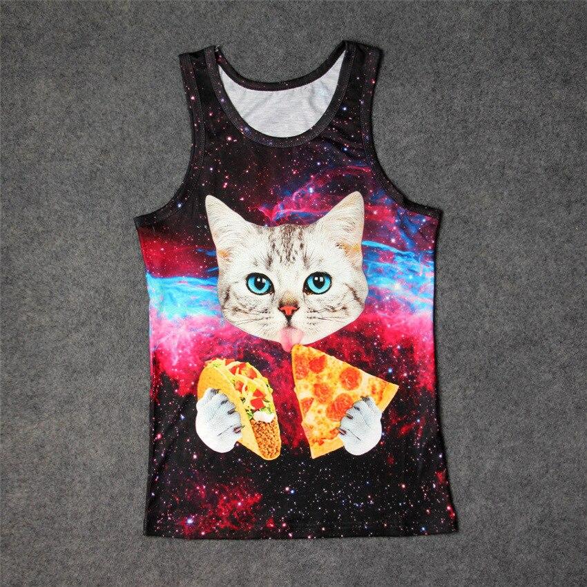 Hot Space Kitty Pizza Kebab 3D Print   Tank     Tops   Kids Men Women Undershirt teen Cotton Tee Loose Unisex Garment