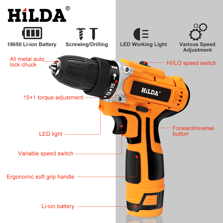 Image 3 - HILDA 12V Electric Drill With Rechargeable Lithium Battery Electric Screwdriver Cordless Screwdriver Two speed Power Tools-in Electric Screwdrivers from Tools on