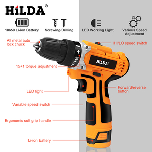 Image 3 - HILDA 12V Electric Drill With Rechargeable Lithium Battery Electric Screwdriver Cordless Screwdriver Two speed Power Tools