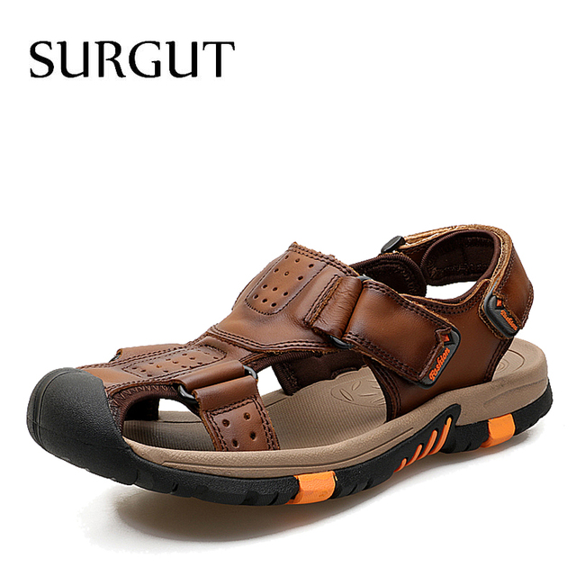 SURGUT Brand Men Breathable Casual Shoes Genuine Leather Sandals Male Rubber Beach Shoes Summer New Sandals Slippers Size 38 45