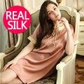 100% чистого шелка ночные рубашки женщин Сексуальное пижамы Главная платья ШЕЛКОВЫЕ рубашки АТЛАСНАЯ ночная сорочка Лето стиль Вышивки платье