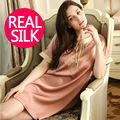 100% pure silk nightgowns women Sexy sleepwear Home dresses SILK nightdress SATIN nightie Summer style Embroidery dress
