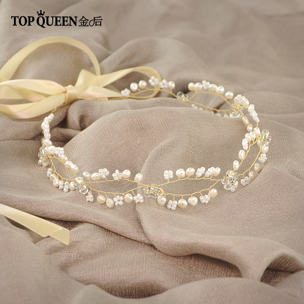 TOPQUEEN HP115 Bridal Gold Headbands for Wedding Party Pears and Rhinestones Beaded Hair ...