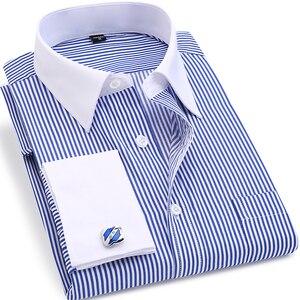 ORINERY gorąca sprzedaż paski męskie sukienka koszula moda marka z długim rękawem Camisa Masculina francuski mankiet smoking ślubny koszula Plus rozmiar