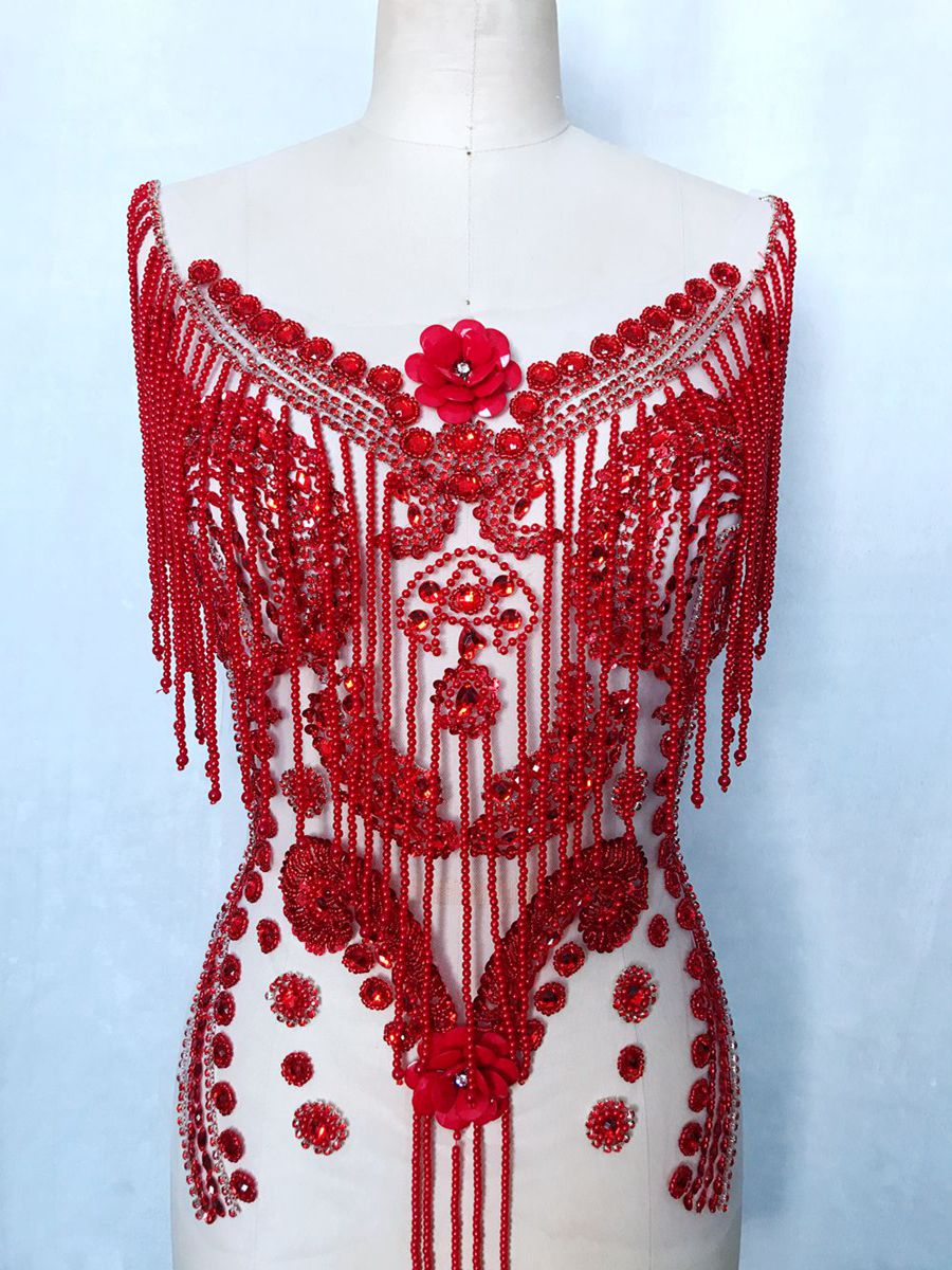 Pure hand made sew on red Rhinestones applique on mesh pearl beads patches trim 57*40cm for dress accessory