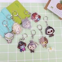 Overwatch Acrylic Cosplay keychains heroes soft log tracer reaper widowmaker Hanzo pendant Keychain цена 2017