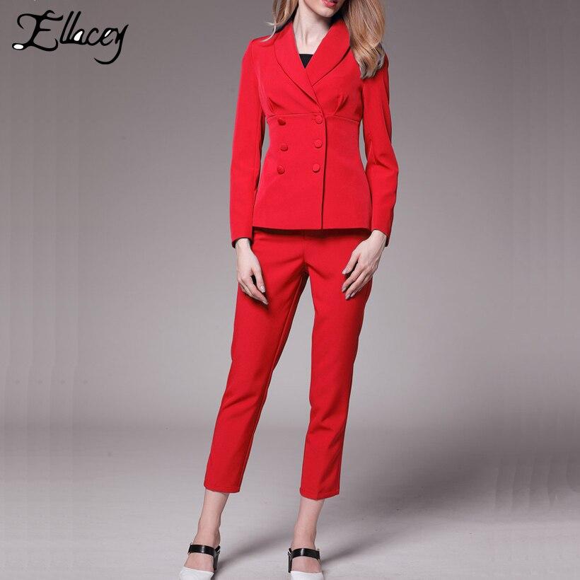 Ellacey Novo Escritório Senhora 2 Peças Conjunto Profissional Terno das Mulheres Blazer Calças Uniforme Vermelho Azul Formal Negócios Pant Ternos - 2