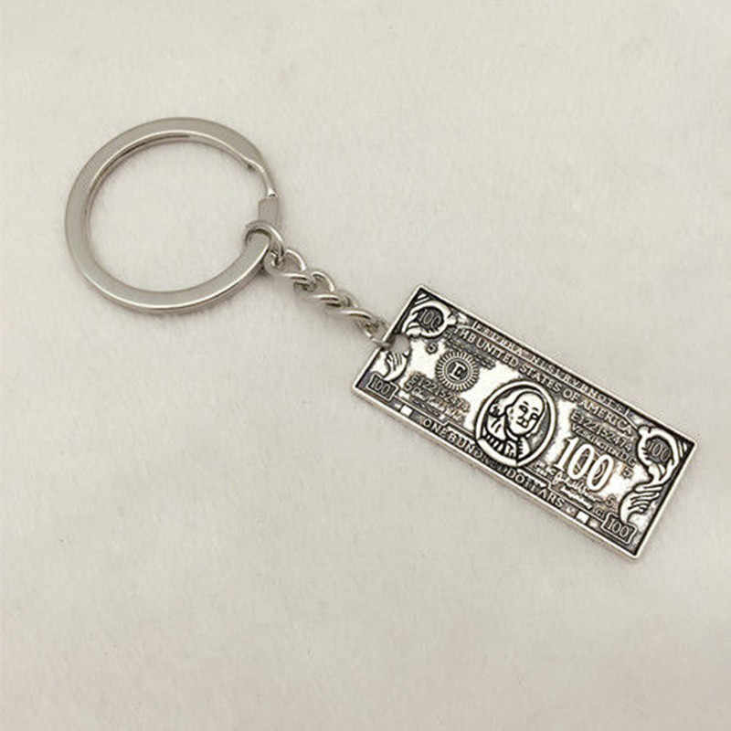 1Pcs Hip Hop Money Tibetan Silver 100 Dollar Bill Pendant Chain Keychain