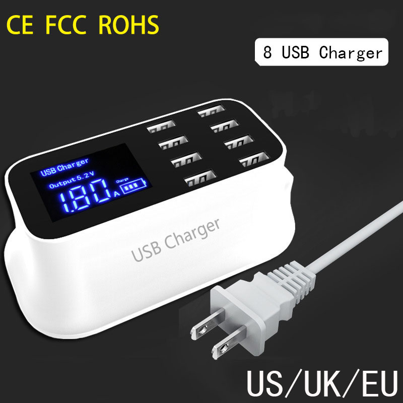 Thbelieve USB Type C De Charge Multi Chargeurs 8 USB Port LCD Chargeurs US UK UE Plug Téléphone De Charge Mur De Bureau adaptateur de Charge