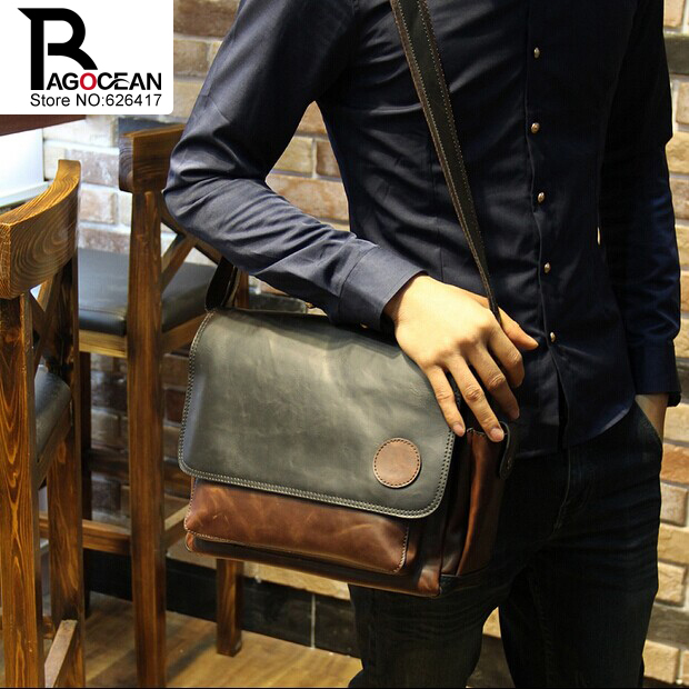 New Vintage Style Men Crazy Horse PU Leather Shoulder Travel Bags Cross Body Messenger Bags Students School Bag Casual Bags 16