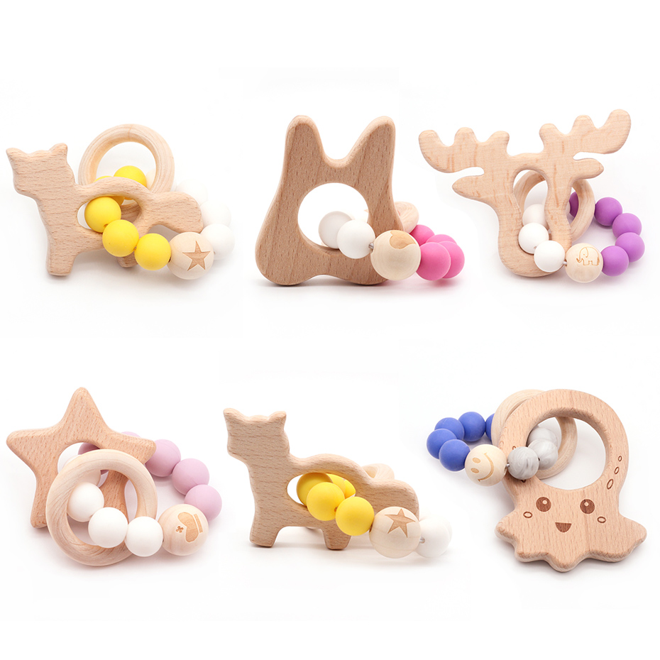 Lovely Cartoon Wooden Teether Pure Natural Animal Shaped Baby Teething Nursing Beech Teether Baby Rattle Stroller Bracelet Toys